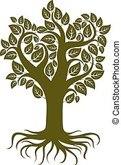 Vector art illustration of branchy tree with strong roots...