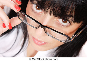 Sexy Business Woman wearing glasses over white background