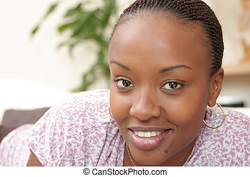 Picture of a happy woman - Picture of a happy young black...