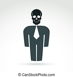 White collar office worker man icon with skull, conceptual...