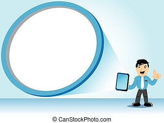 Businessman and Tablet - Illustration vector graphic of...