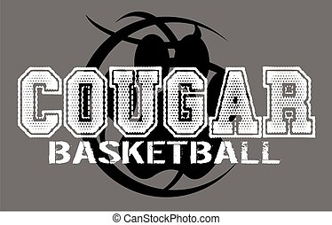 cougar basketball team design with large paw print inside a...