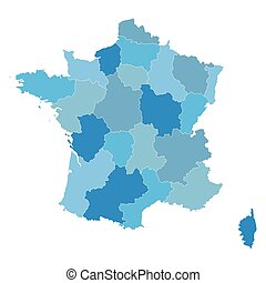 blue map of France (all regions on separate layers)