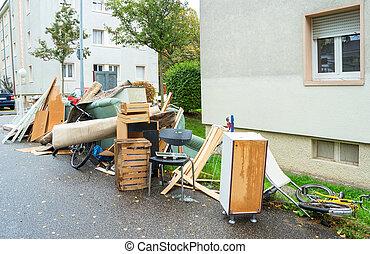 Big pile of old broken furniture