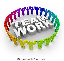 Colorful People Around Word Teamwork - Many people of...