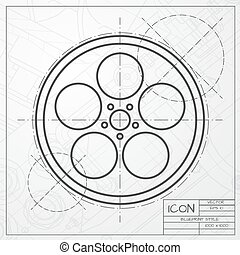 Bobbin icon - Vector classic blueprint of retro bobbin icon...