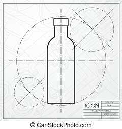Vector color flat olive oil bottle - Vector classic...