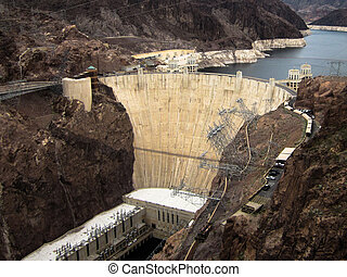 Hoover Dam built on Lake Mead Las V