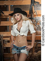 American country style blonde - Beautiful blonde girl with...