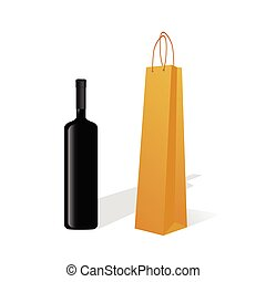 bottle of wine with paper bag vector silhouette