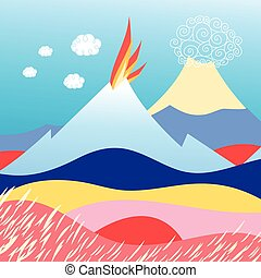 island in the sea with volcano - Beautiful vector...