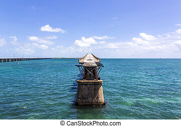 Old Bahia Honda Rail Bridge, Bahia Bay State Park, Florida...