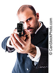 At gunpoint - portrait of a classy businessman or mobster or...
