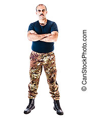 Paramilitary - a soldier wearing camouflage clothing...