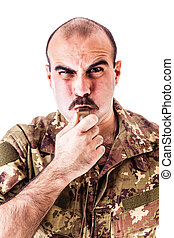 Drill Sergeant - a soldier or drill sergeant blowing a...