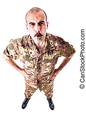 Soldier Blowing the whistle - a soldier or drill sergeant...