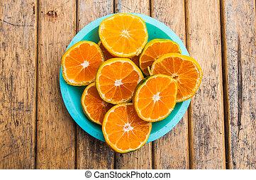 薄く切られる, オレンジ, フルーツ