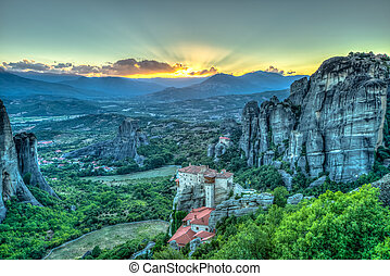Panorama Meteora - Spectacular colorful sunset over the...