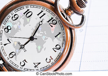 money, time and globalization concept - vintage pocket watch...