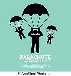 Parachutes Skydiving Sign - Parachutes Skydiving Sign Vector...