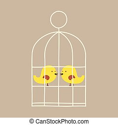 Lovely Birds In Cage.