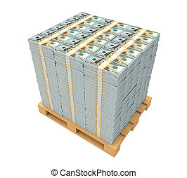 Stack of Money with Wooden Pallet isolated on white...