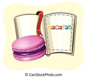 Purple macaron with book illustration
