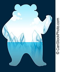 Save the wold sign with polar bear illustration