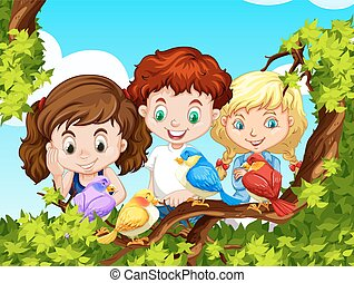 Children looking at birds on branch illustration