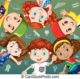 International students and school objects illustration