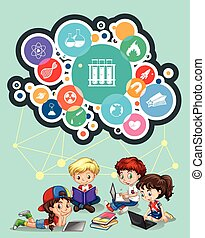 Children studying and science symbols illustration