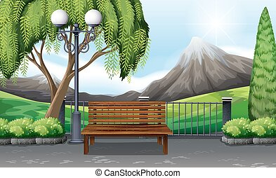 Scene of public park with no people illustration