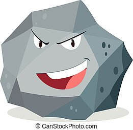 Rough rock with face illustration