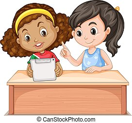 Little girls using computer illustration