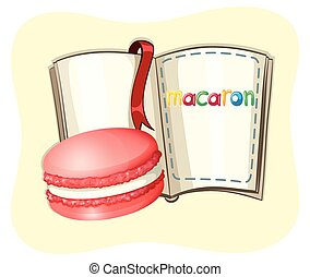 Macaron and open book illustration