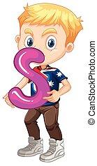 Little boy holding letter S