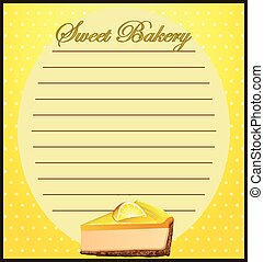 Line paper with lemon cheesecake illustration
