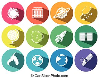 Science and technology icons illustration