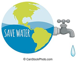 Save water sign with tap water illustration