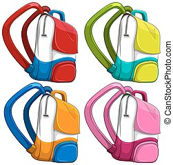 Schoolbags in different colors illustration