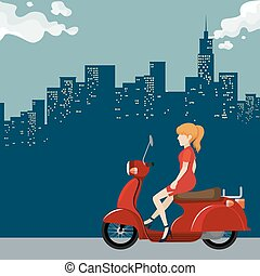 Girl riding on motorcycle