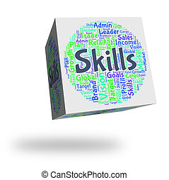 Skills Word Shows Skilled Words And Expertise - Skills Word...