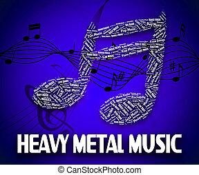 pesado, metal, Música, indica, sonido, pistas, y,...