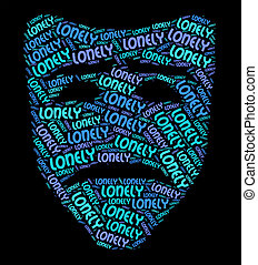 Lonely Word Indicates Unloved Abandoned And Wordcloud -...