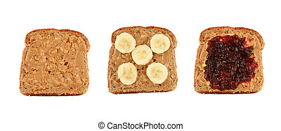 peanut butter toast - Three pieces of toasted bread with...