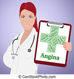 Angina Word Shows Congenital Heart Disease And Affliction -...