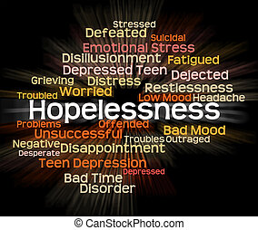 Hopelessness Word Shows In Despair And Demoralized -...