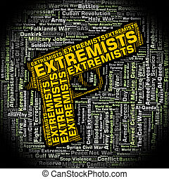 Extremists Word Means Bigotry Text And Wordclouds -...