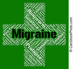 Migraine Word Means Neurological Disease And Affliction -...