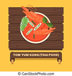 Thailand's national dishes,Thai spicy soup(TOM YUM KUNG) - Vector flat design